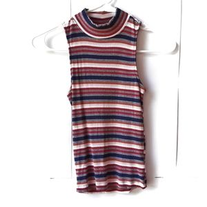 CAPE JUBY Striped High Neck Tank Top Size XSmall